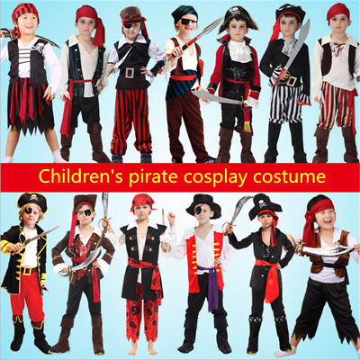 Children's Pirate Costume Boys Captain Hook Fancy Halloween Kids Cosplay Outfit