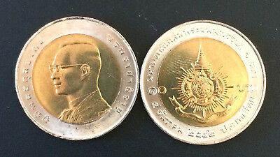 Thailand Coin 10 Baht Bi Metallic 6 Cycle Birthday Anniversary King Rama IX UNC.