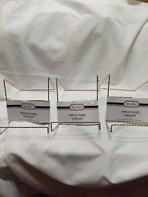 Twisted Wire Easel Gold Tone Display Holder Picture Frame Plate Art/lot of 3