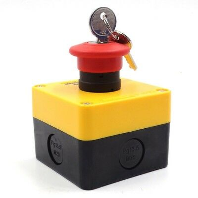 Mushroom 220V 10A Red Waterproof Emergency Stop Key Switch Lock 1 NC Contact
