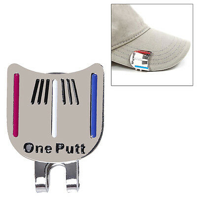 One Putt Golf Alignment Aiming Tool Ball Marker Magnetic Visor Hat Clip Alloy !