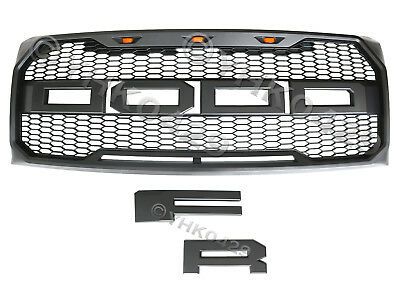 2009-2014 ABS Matte Gray Raptor Style Grille F&R Letter With 3 LED For Ford F150