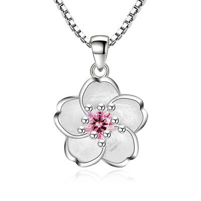 925 Silver Lovely Crystal Sakura Flower Pendant Necklace For Women Girl Gift