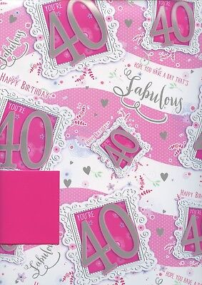 Female 40Th  2 Sheets Of Gift Wrap Wrapping Paper +1 Matching Tag 1Stp&p