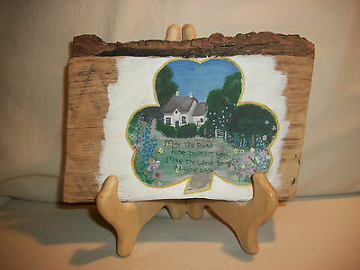 """Irish Blessing Shamrock Clover Cottage Painting Wood Tree Bark With Stand 7"""""""