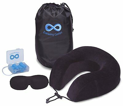 Everlasting Comfort 100% Pure Memory Foam Neck Pillow Airplane Travel Kit With
