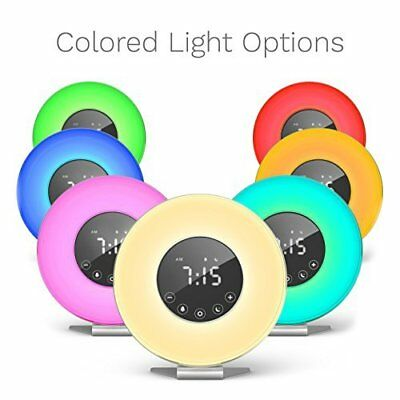 hOmeLabs Sunrise Alarm Clock - Digital LED Clock with 6 Color Switch and FM