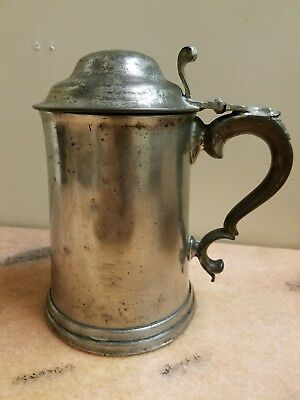 Rare Antique Hand Forged German Pewter Tankard w/ Lid & Glass Bottom dated 1884