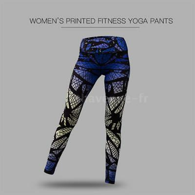 Women's Printed Compression Yoga Pants Active Workout Leggings Stretch Y3X9