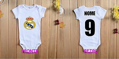 Real Madrid Name Baby Body Bebe Football Calcio 0 6 9 12 Name Number New Sport