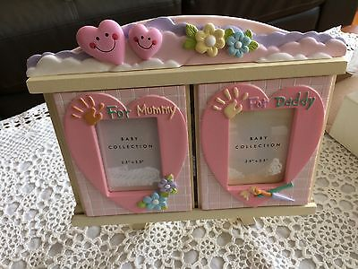 baby girls photo frame picture holds 3 photos new......