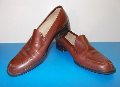 Women's ENZO ANGIOLINI Brown Leather Size 7M  Slip On Shoes Pre Owned