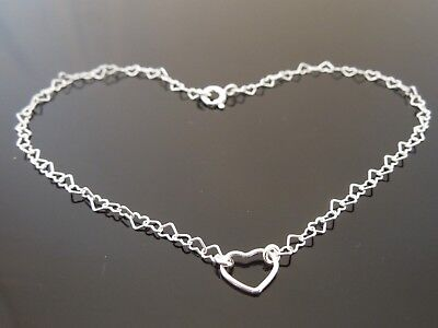 """3mm x 4mm 925 Sterling Silver FINE Heart Link Ankle Chain Anklet 10.5"""" (26.5cm)"""