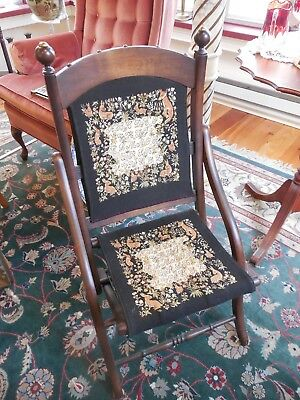 Vintage Folding Needlepoint Chair; REDUCED PRICE!