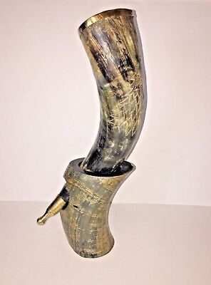 Natural Mead Drinking Horn Engraved GOT King Robb 'The Young Wolf' Medieval Look