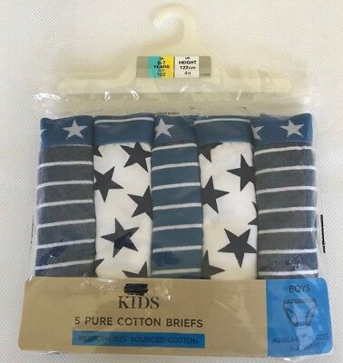 Ex M&S Baby Boys Blue Star Stripe Pants Briefs Knickers x 5 Pack Age 18/24 Mths