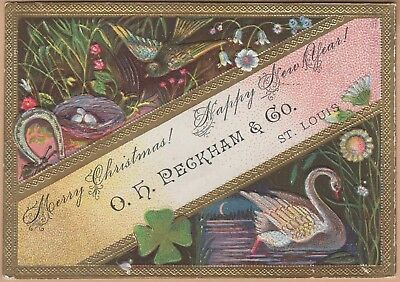 Victorian Trade Card-O H Peckham & Co-St Louis MO-Black Swan-Bird Nest-Horseshoe