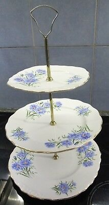 VINTAGE: ROYAL VALE CORNFLOWER Bone China 3-Tier CAKE STAND Blue