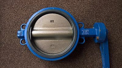 """10"""" Cast Iron Manual Wafer Style Butterfly Valve, PN16, EPDM Seat, Plated Disc"""