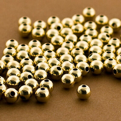 100pc - Gold Filled 5mm Round Smooth Beads. Seamless Wholesale Beads.14/20