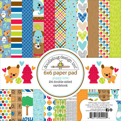 """Doodlebug PL5299  Double-Sided Paper Pad 6""""X6"""" 24/Pkg-Puppy Love (2Pk)"""