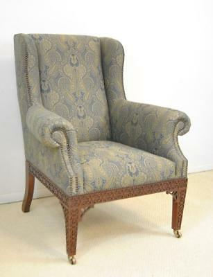 Baker Furniture Stately Homes Wing Back Chair Carved Mahogany Frame Nail Head