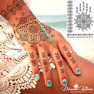 Temporary Tattoo Black Henna,  Lotus Flower, Daisy, Lace, Hand, Womans, Girls