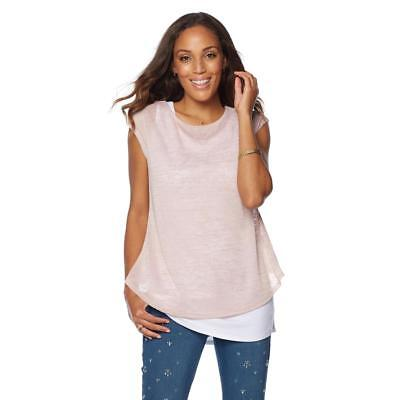 46bbfd82a4dc9 G by Giuliana Women s Round Neck Short Sleeve Drape-Back Top Rose Large  Size HSN
