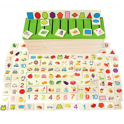 Wooden Number Fruits Puzzle Jigsaw Early Learning Baby Kids Educational Toys