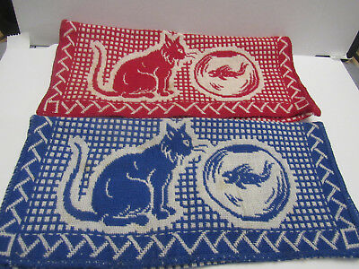 "2 Vintage Fabric SILVERWARE COVERS, CAT AND GOLDFISH 9"" X 8"" - VGC LOT"