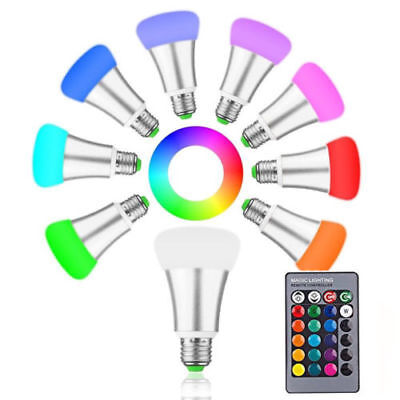 10W RGB E27 LED Bulb Light Stage Lamp 12 Colors with Remote Control
