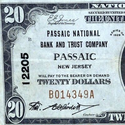1929 $20 National Bank Note ✪ Passaic Ntl Bank & Trust Co ✪ Nj 12205 ◢Trusted◣