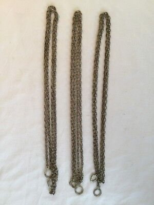 "Set Of 3 Antique 68"" Clock Chains"