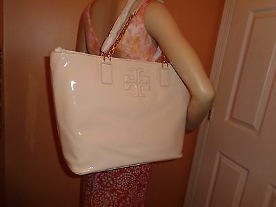 95c5dd5e7be NWT TORY BURCH CHARLIE Patent Light Oak Leather Shoulder Tote  495 DustBag