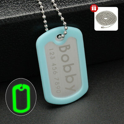 Custom Personalized Military Dog Tag Necklace Glow with a Dog Tag Silencer+Chain