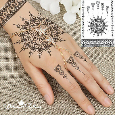 Temporary Tattoo Black Henna, Mandala, Mehndi, Flower, Lace, Hand, Womans, Girls