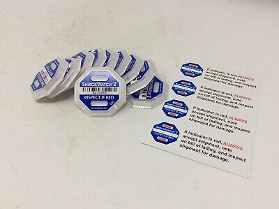 Pack of 10 ShockWatch 2 Shipping Damage & Impact Indicator 15g Blue with Sticker