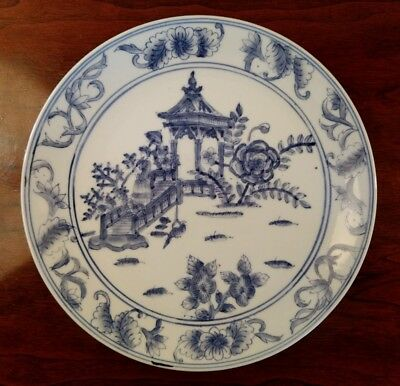 Chinese Export Plate Blue & White China Lovely Serene Lady & Kaboda Art SignedX-