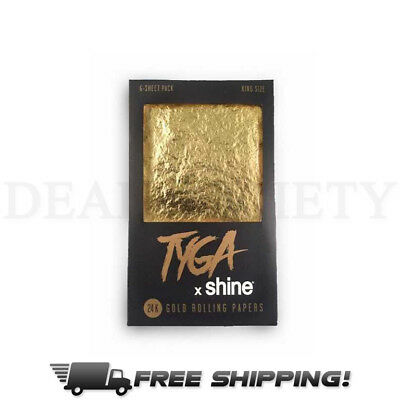 Shine Tyga 24K Gold King Size Rolling Papers 6 Sheet Pack King Size