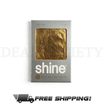 Shine 2 Sheet Pack 24k Gold Rolling Papers Size 1 1/4""