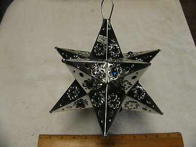"""11"""" 12 point Mexican Moravian tin star with marbles Silver  Without light"""