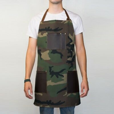 Camouflage Denim Apron Brown Leather Pockets Woodwork Barber Barista Handmade