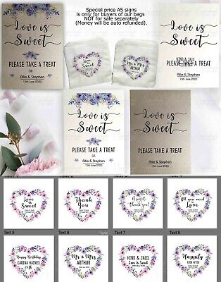 Personalised wedding favour sweet / sweetie candy cart bags Love is Sweet FPPW