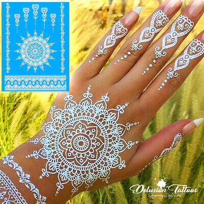 Temporary Tattoo White Henna Kit Stickers, Mandala, Mehndi, Flower, Hand, Womens