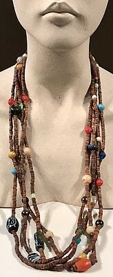 Antique Estate VINTAGE Rare Long Glass Indian Trade Bead Wooden Beaded NECKLACE