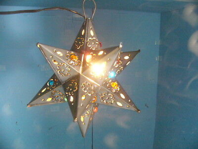 """11"""" Moravian Mexican tin star lighted marbles Bronze"""