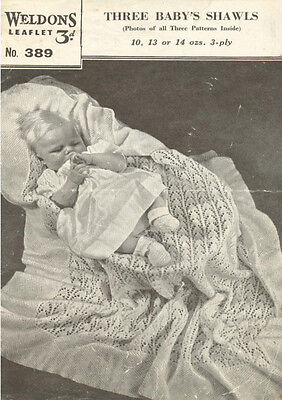 Vintage Knitting Pattern Copy -  To Knit 3 Shawls  For Baby - 1940's - 3 Ply