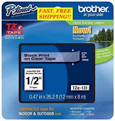 "BROTHER 1/2"" (12mm)  BLACK ON CLEAR P-TOUCH TAPE for P-Touch Labelers ~ NEW!"