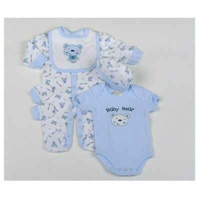 Baby Bear Boys 5 Piece Sleepsuit Clothes Gift Set by Watch Me Grow Layette 0-6M