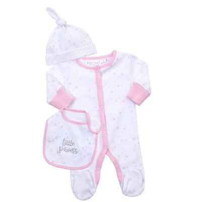 Premature Baby Girl Little Princess 3 Pcs Sleepsuit Outfit Set 3lbs-0-3Mths Pink